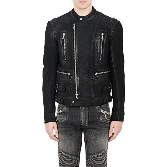 Balmain RARE Waxed Moleskin Biker Jacket Size US L / EU 52-54 / 3 - 1