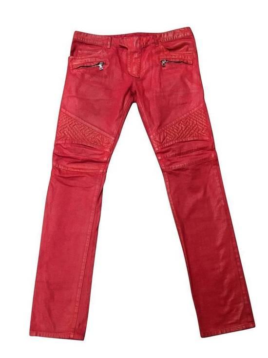 Balmain Balmain Signature Men's Wax Coated Denim Scarlet Red Motto Zip Jeans sz 36 Size US 36 / EU 52