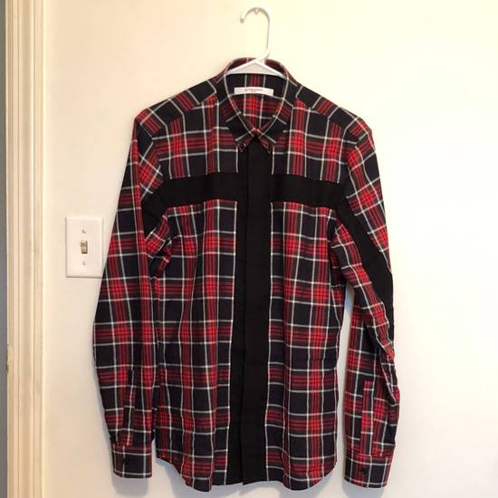 Givenchy Men's Red Cross-inset Plaid Button-down Shirt Size US XXS / EU 40