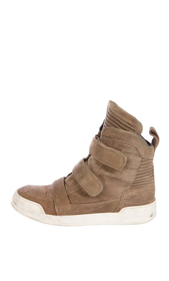 Balmain Balmain Taupe Velcro Strap Leather High-Top Ribbed Sneakers Size US 8 / EU 41