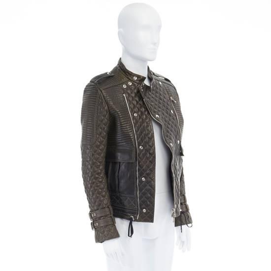 Balmain runway BALMAIN ROUSTEING green quilted leather motorcycle biker jacket EU48 M Size US M / EU 48-50 / 2 - 3