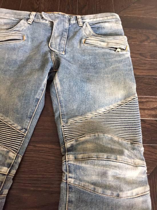 Balmain Balmain Blue Denim Motorcycle Jeans Size US 31 - 2