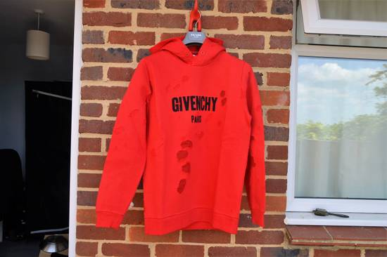 Givenchy Red Destroyed Logo Hoodie Size US XL / EU 56 / 4