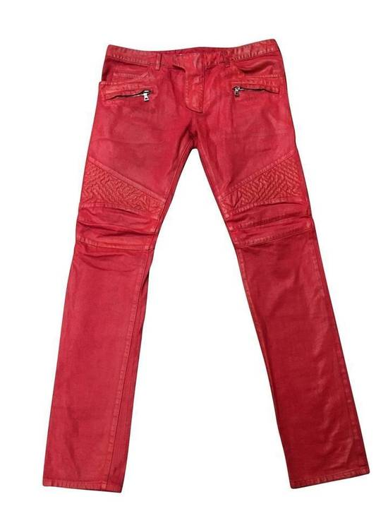 Balmain Balmain Signature Men's Wax Coated Denim Scarlet Red Motto Zip Jeans sz 36 Size US 36 / EU 52
