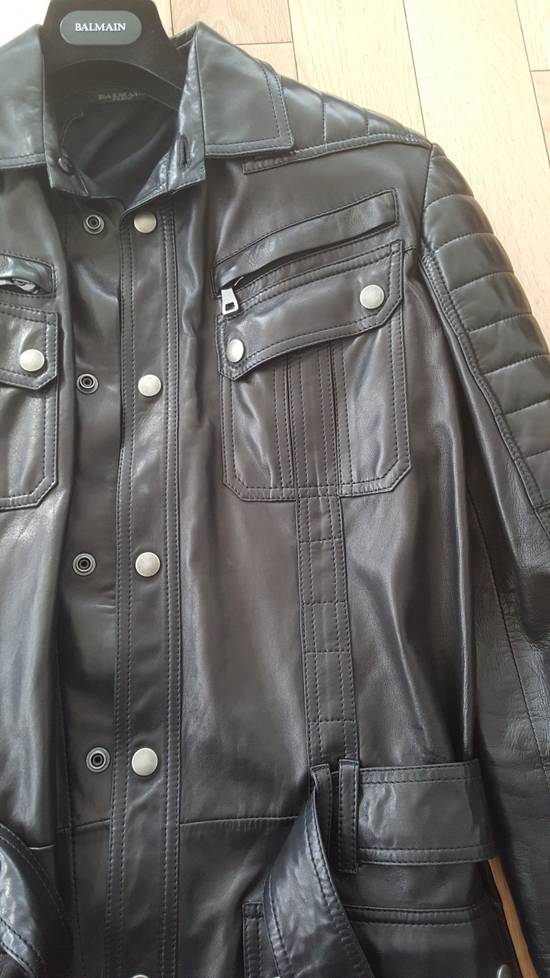 Balmain Balmain Black Leather Quilted Jacket Safari Biker Style SS13 *Very Rare* 48 Size US M / EU 48-50 / 2 - 7