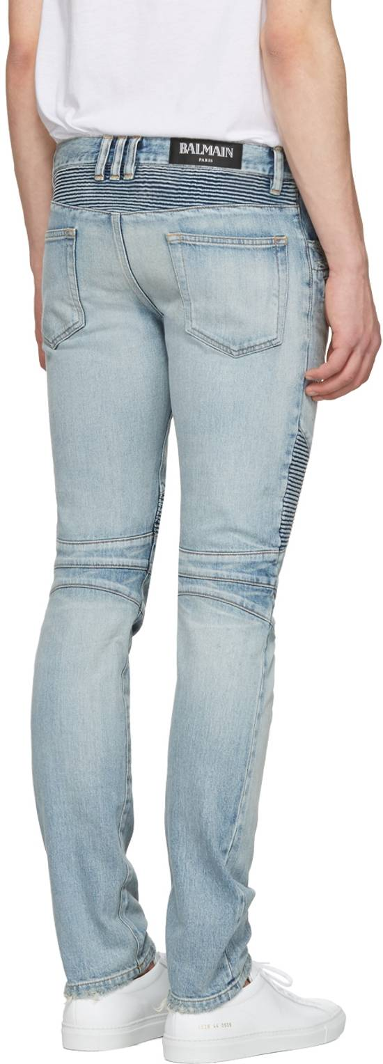 Balmain 1565$ Skinny Light Blue Distressed Biker Jeans Size US 30 / EU 46 - 12