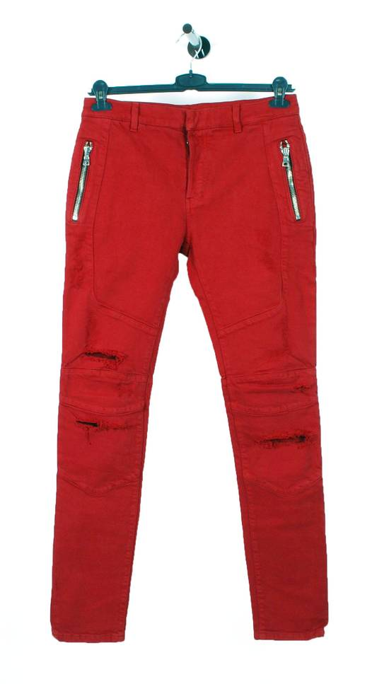 Balmain Original Balmain Distressed Red Men Biker Jeans in size 32 Size US 32 / EU 48