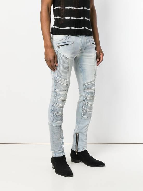 Balmain Balmain Blue Ribbed Biker Jeans Size US 31 - 3