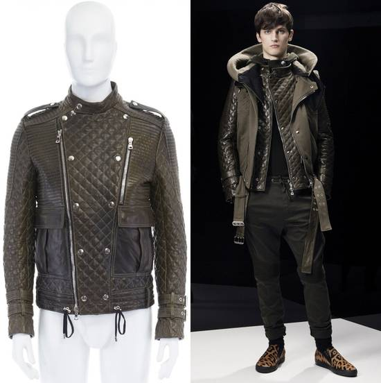 Balmain runway BALMAIN ROUSTEING green quilted leather motorcycle biker jacket EU48 M Size US M / EU 48-50 / 2
