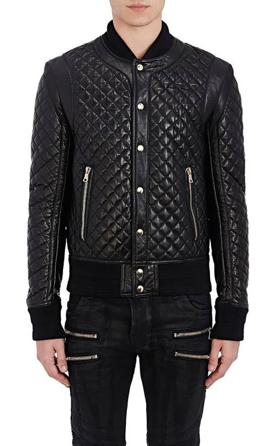 Balmain Balmain Quilted Leather Bomber Varsity Jacket Size 50 Black FW16/17 Brand New $5245 Size US M / EU 48-50 / 2 - 2