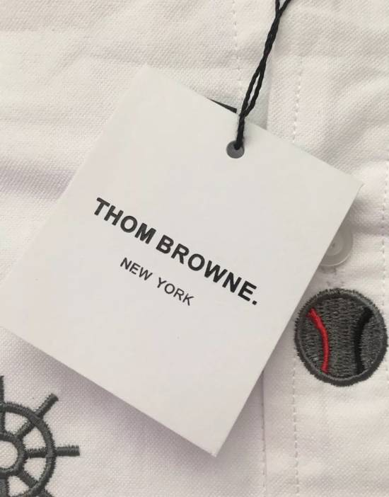 Thom Browne White - Nautical Embroidered All-Over Icon Oxford Size US L / EU 52-54 / 3 - 3
