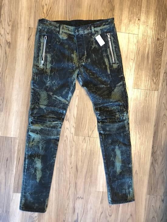 Balmain Extremely Rare Brand New Balmains- Marble-Print Skinny Moto Jeans Size US 32 / EU 48 - 1