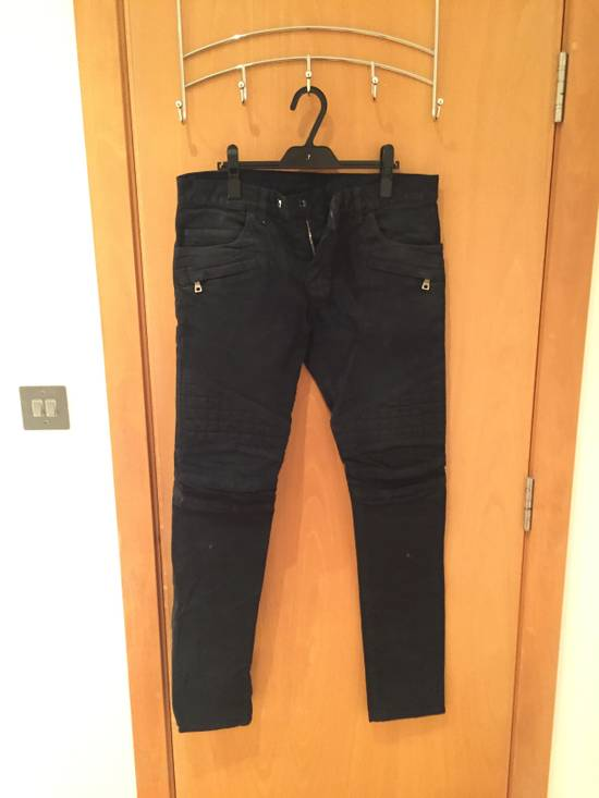 Balmain Quilted Waxed Biker Jeans Size US 31