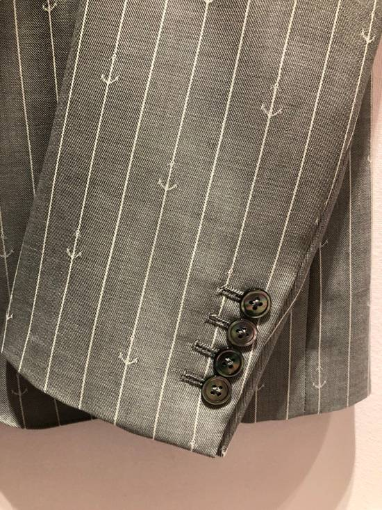 Thom Browne THOM BROWNE CLASSIC BLAZER IN GRAY/WHITE ANCHOR PINSTRIPE Size 40R - 9
