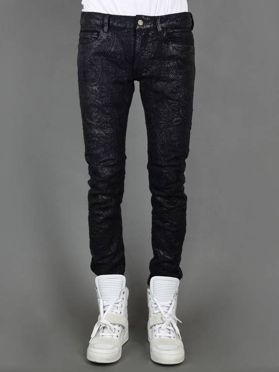 Balmain Midnight Blue Waxed Embroidered Jeans Size US 27 - 17