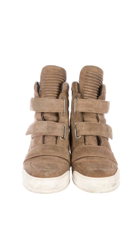 Balmain Balmain Taupe Velcro Strap Leather High-Top Ribbed Sneakers Size US 8 / EU 41 - 1