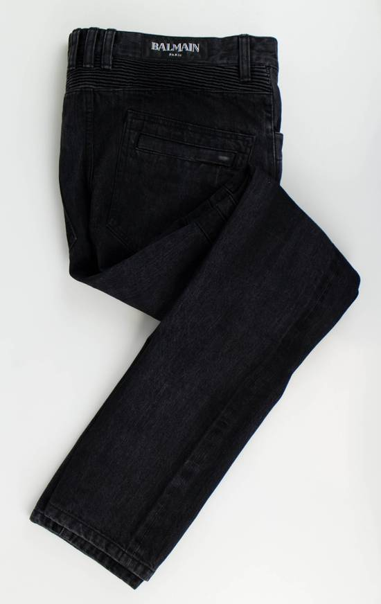 Balmain Black Cotton Denim Biker Jeans Size US 32 / EU 48
