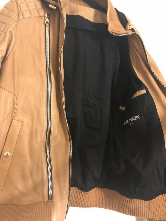 Balmain Brown Leather Jacket Size US M / EU 48-50 / 2