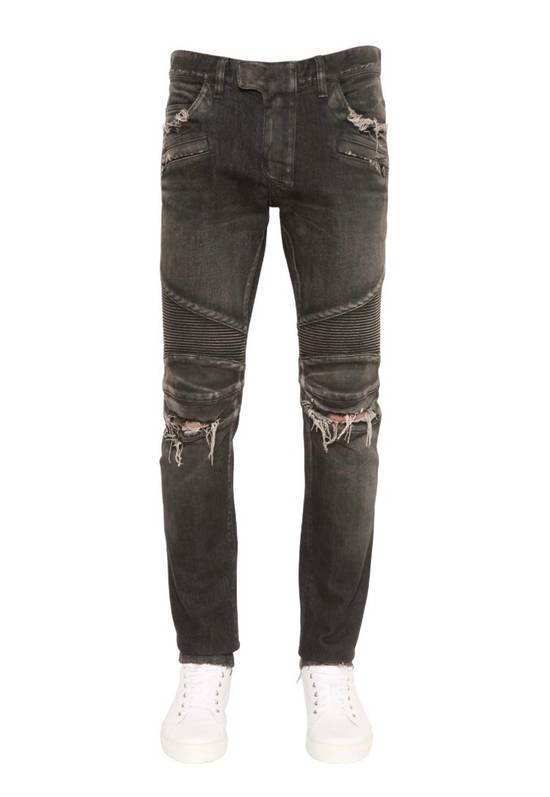 Balmain Distressed Slim Biker Jeans Size US 34 / EU 50