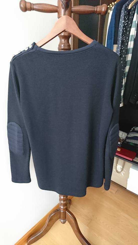 Balmain Navy sweater with elbow biker patches with silver shoulder buttons Size US M / EU 48-50 / 2 - 3