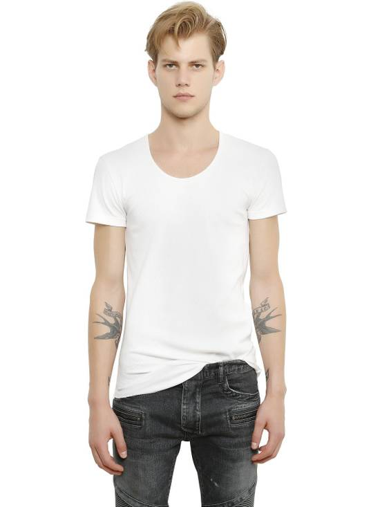 Balmain White Ribbed T-shirt Size US M / EU 48-50 / 2 - 1