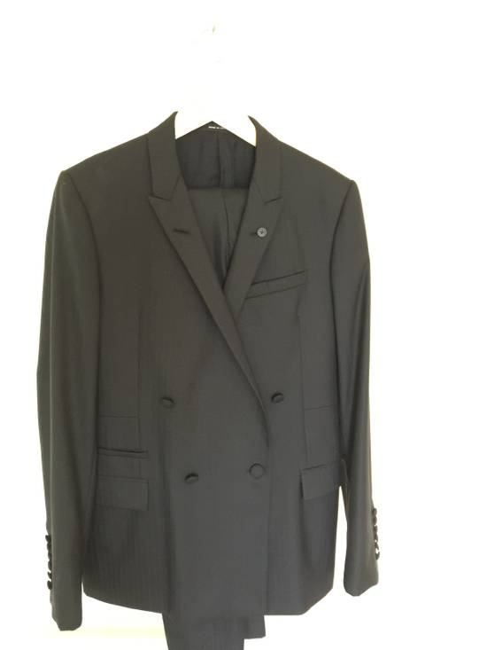 Givenchy Black Herringbone Wool Blazer Slim-Fit Full Suit Size 38R - 1