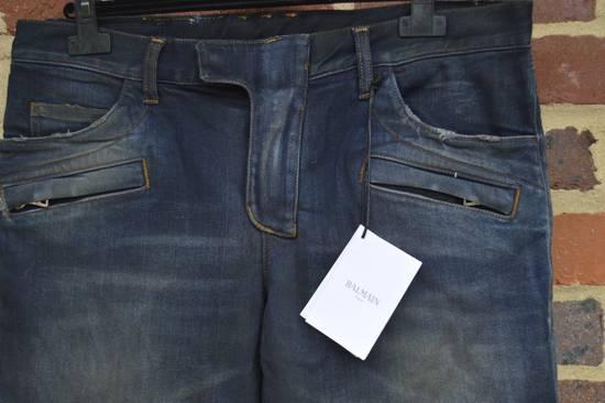 Balmain Dirty Blue Biker Jeans Size US 27 - 5