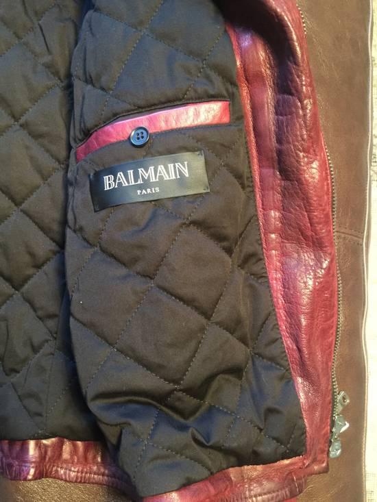 Balmain Lambskin Burgundy Biker Jacket Size US L / EU 52-54 / 3 - 2