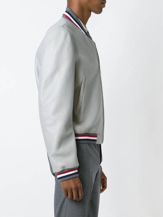 Thom Browne Thom Brown Deerskin Leather Varsity Jacket Grey Size 3 EU50 Medium RRP $3325 Size US M / EU 48-50 / 2 - 3