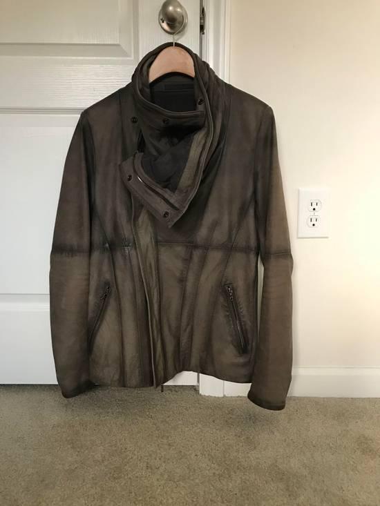 Julius Greige Nubuck Asymmetric Cowl Neck Leather Jacket Size US S / EU 44-46 / 1 - 3