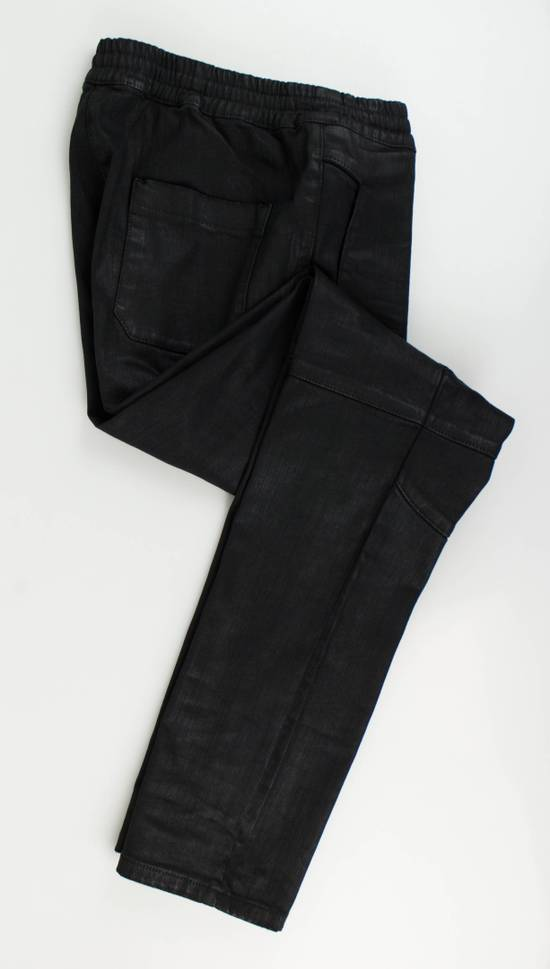 Balmain Black Waxed Denim Biker Sweat Track Pants Size US 36 / EU 52