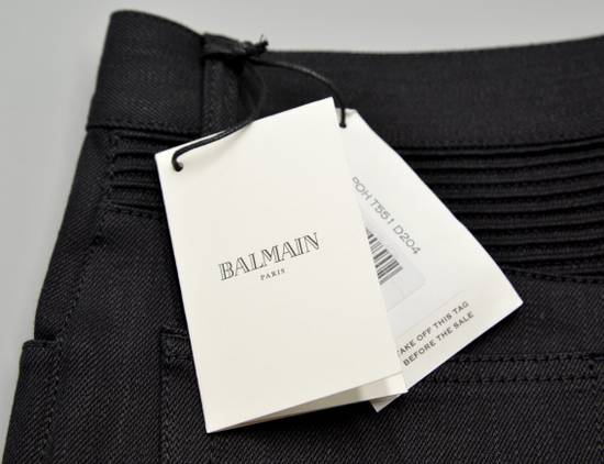 Balmain Black Raw Denim Biker Pants Size US 32 / EU 48 - 8