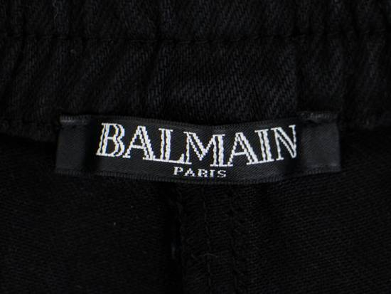Balmain Black Waxed Denim Biker Sweat Track Pants Size US 36 / EU 52 - 6