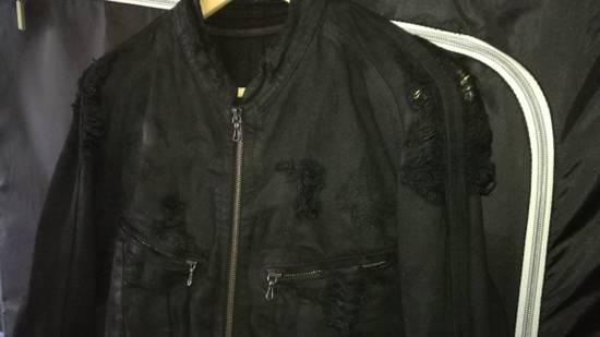 Julius 2009AW Coated Distress Denim Biker Jacket Size US L / EU 52-54 / 3 - 3