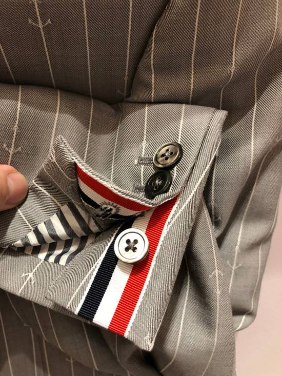Thom Browne THOM BROWNE CLASSIC BLAZER IN GRAY/WHITE ANCHOR PINSTRIPE Size 40R - 10