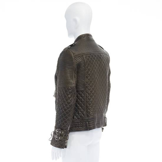 Balmain runway BALMAIN ROUSTEING green quilted leather motorcycle biker jacket EU48 M Size US M / EU 48-50 / 2 - 6