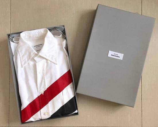 Thom Browne CLASSIC SHIRT W/PRINTED DIAGONAL STRIPE IN OXFORD WHITE Size US XS / EU 42 / 0 - 1