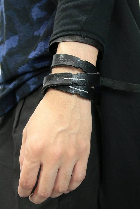 Julius SS16 Black Leather Hand-wrap Bracelet Size ONE SIZE - 4