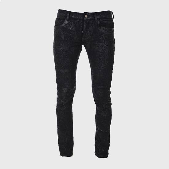 Balmain Midnight Blue Waxed Embroidered Jeans Size US 27 - 12