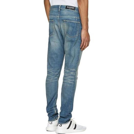 Balmain Blue Distressed Low Rise Jeans Size US 27 - 2