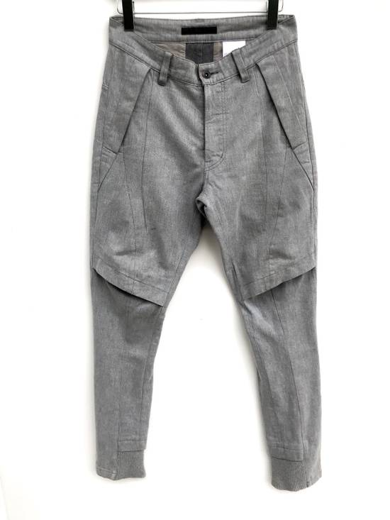 Julius FW2013 Ma Julius Military Tactical Paracute Denim Button Fly Light Grey Army Cotton Denim Assembled In Japan Trousers Pants Size US 29
