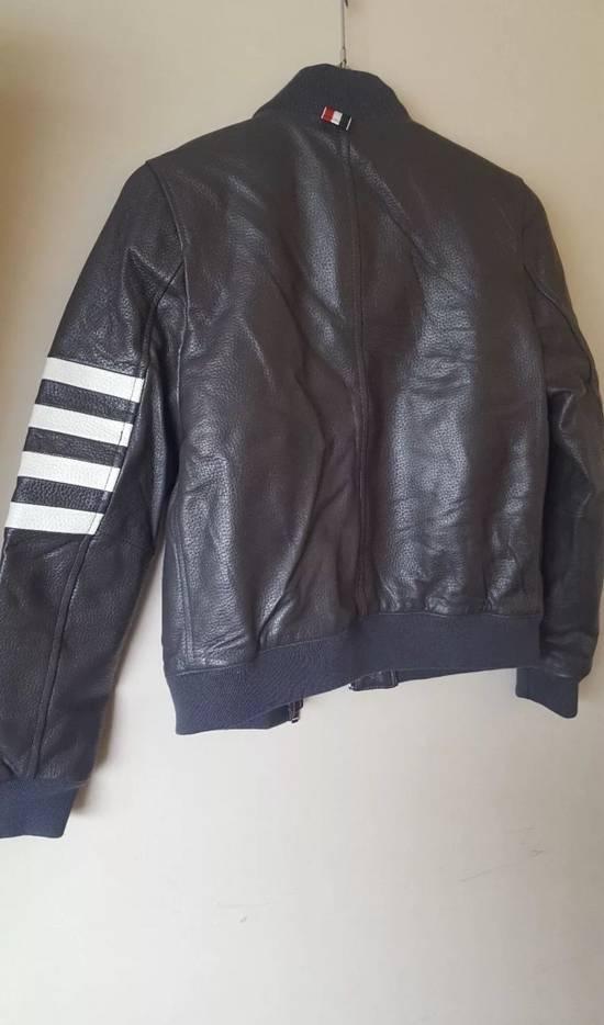 Thom Browne 4 Bar Stripe Leather Bomber Jacket Black Size US S / EU 44-46 / 1 - 5