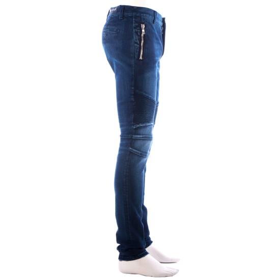Balmain 995$ New Dark Blue Cotton Blend Biker Jeans Size US 29 - 8