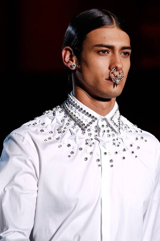 Givenchy GIVENCHY 2012 F/W STAR STUDS & CRYSTAL BEADS WHITE SHIRT Size US M / EU 48-50 / 2 - 1
