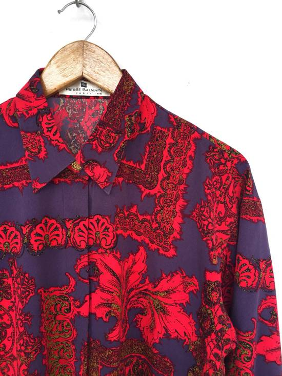 Balmain Multicolor Overprinted Floral Blossom Oversized Button Up Silk Shirt Size US L / EU 52-54 / 3