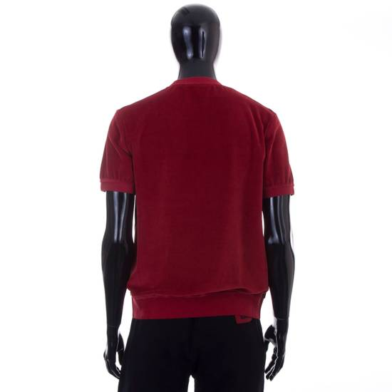 Givenchy Dark Red Men's Velour Crewneck T-Shirt With 4G Chest Logo Size US M / EU 48-50 / 2 - 3