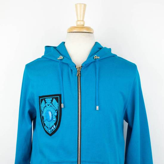Balmain Men's Turquoise Cotton Zip-Up Long Hoodie Sweater Size Medium Size US M / EU 48-50 / 2 - 4