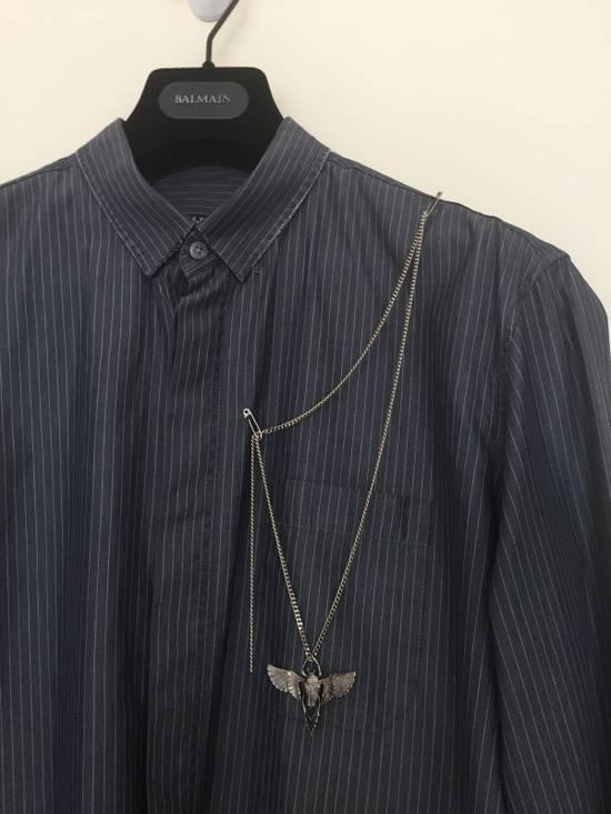 Balmain 11' SS Decarnin Era Grey Strip Distressed Shirt Size US M / EU 48-50 / 2 - 2