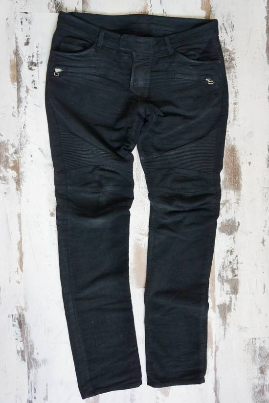 Balmain BALMAIN FW2009 Mens Black Coated Biker Denim Pants Sz 33 Decarnin Era Size US 33