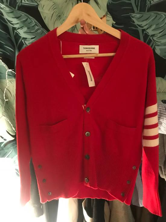 Thom Browne Short V-Neck Cardigan With 4-Bar Strip In Red Size US M / EU 48-50 / 2
